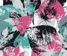 Leaves grunge pattern seamless vectors 07