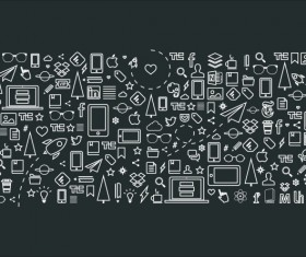 Life elements outline icon vector material