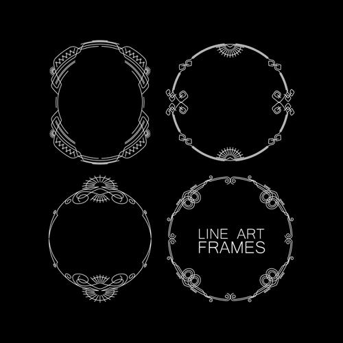 Line Art Frames : Line art frames design vector borders