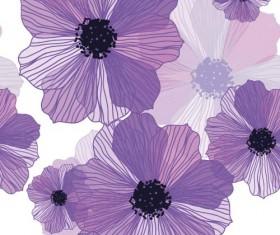 Line flower vector seamless pattern 01