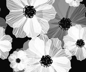 Line flower vector seamless pattern 02