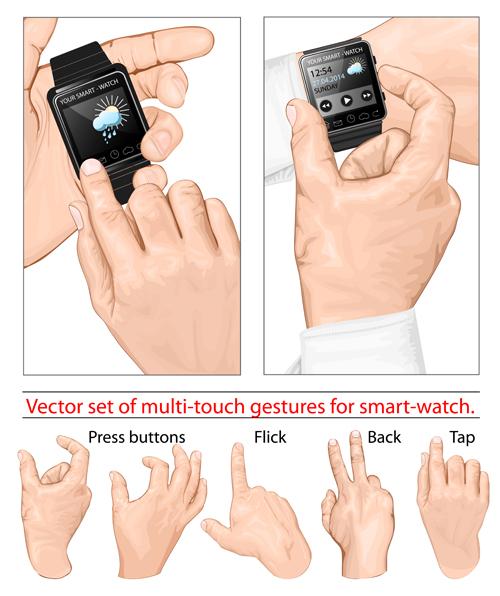 Man hand gestures vector design 02