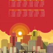Link toModern city with calendar 2016 vector