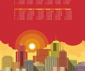 Modern city with Calendar 2016 vector
