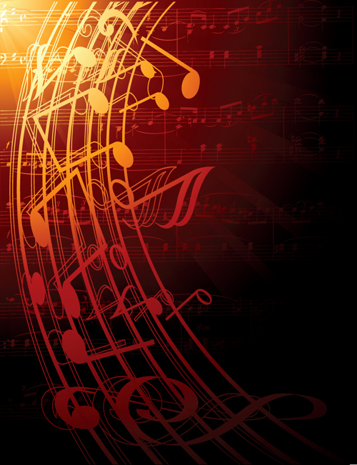 Music note and sheet music background vector