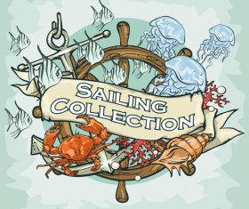 Old retro sailing labels vectors material 04