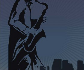 Old saxophone performer vector 01