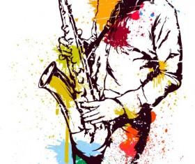 Old saxophone performer vector 03