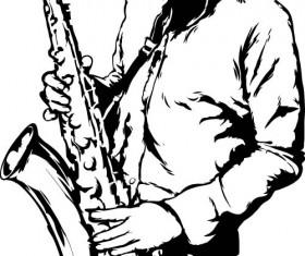 Old saxophone performer vector 04
