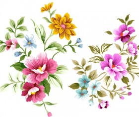 PSD layered file of hand drawn flowers