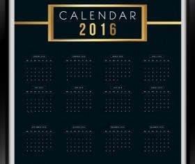 Photo frame Calendar 2016 vector material 01