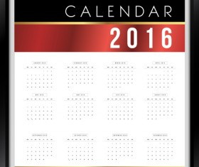 Photo frame Calendar 2016 vector material 02