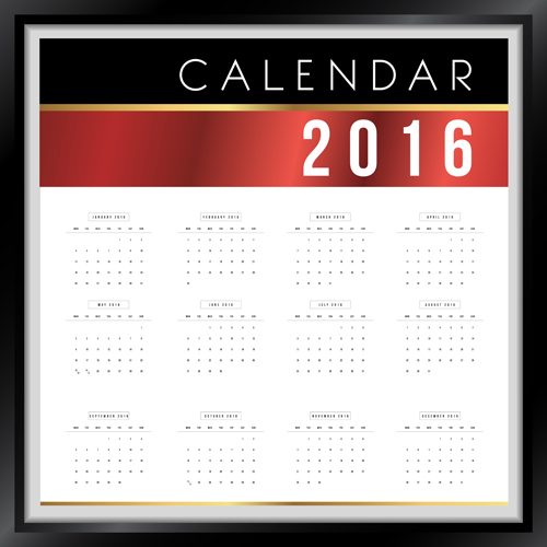 photo frame calendar 2016 vector material 02 free download