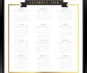 Photo frame Calendar 2016 vector material 03