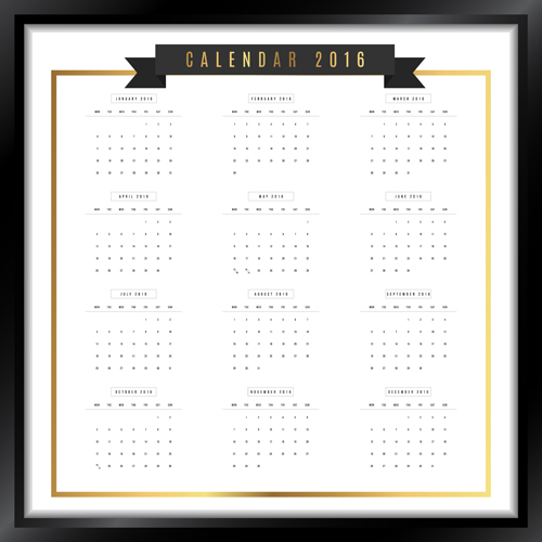 photo frame calendar 2016 vector material 03 free download