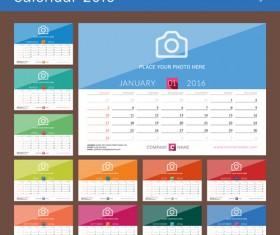 Photo with desk Calendar 2016 vector