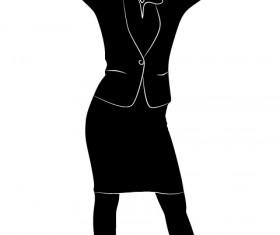 Professional Women vector silhouettes set 05