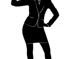 Professional Women vector silhouettes set 08