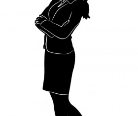 Professional Women vector silhouettes set 12