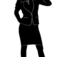 Professional Women vector silhouettes set 16