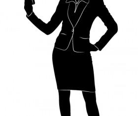 Professional Women vector silhouettes set 18