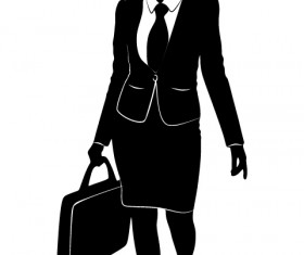 Professional Women vector silhouettes set 22