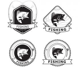 Retro fishing labels design vector material 01