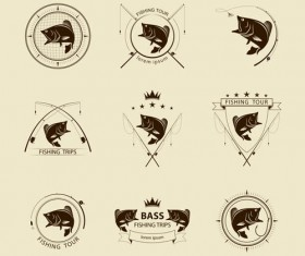 Retro fishing labels design vector material 02