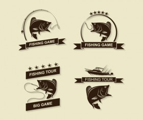 Retro fishing labels design vector material 04