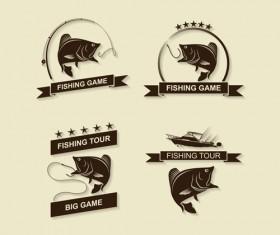 Retro fishing labels design vector material 04