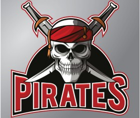 Retro pirates logo vector 01