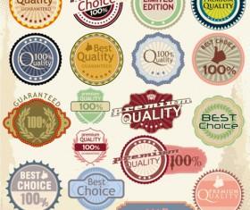 Retro quality label vector material set