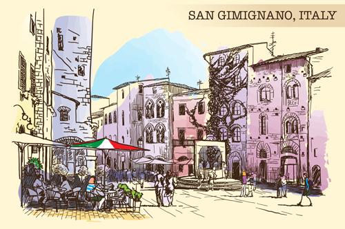 San gimignano italy town background vector 02