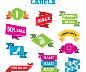 Shopping labels origami ribbons vector 03