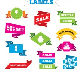Shopping labels origami ribbons vector 08