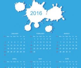 Simple Blue Calendar 2016 vector