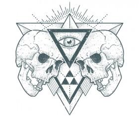 Skull t-shirt prints vector material 01