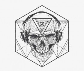 Skull t-shirt prints vector material 02