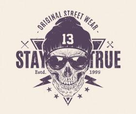 Skull t-shirt prints vector material 03