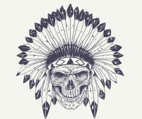 Skull t-shirt prints vector material 04