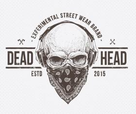 Skull t-shirt prints vector material 05