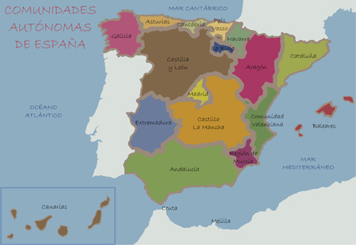 Spain political map vector material Vector Maps free download