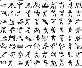 Sports people icons vector material