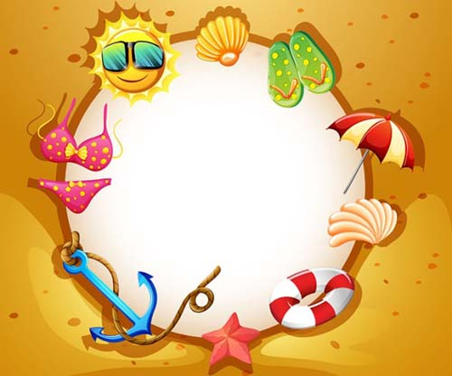 Holiday beach frame vector vector frames amp borders free download