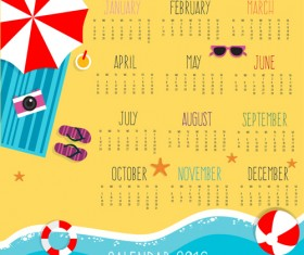 Summer holiday styles Calendar 2016 vector