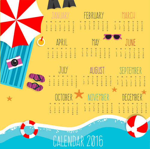 Holiday Calendar Design : Summer holiday styles calendar vector