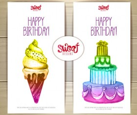 Sweet dessert happy birthday cards vectors 01