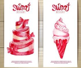 Sweet dessert happy birthday cards vectors 02