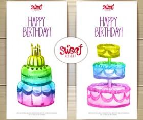 Sweet dessert happy birthday cards vectors 03