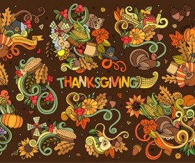 Thanksgiving day autumn hand drawing illustration vector